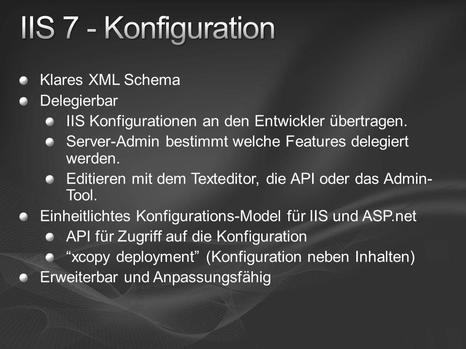 Klares XML Schema Delegierbar IIS Konfigurationen an den Entwickler übertragen. Server-Admin bestimmt welche Features delegiert werden. Editieren mit