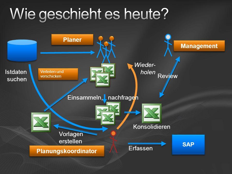 Wieder- holen Istdaten suchen Konsolidieren Einsammeln, nachfragen SAP Erfassen Verteilen und verschicken Planer Vorlagen erstellen Planungskoordinato
