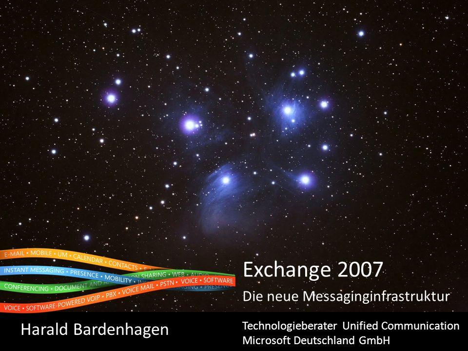 Exchange 2007 SP1 und Windows 2008 Windows 2008 als OS Windows 2008 als DC Windows 2008 als RODC * Exchange 2000 SP3nein Exchange 2003 SP2neinJanein ** Exchange 2007neinjanein ** Exchange 2007 SP1ja nein ** ** mindestens 1 vollwertiger DC/GC pro AD-Site mit Exchange Servern erforderlich.