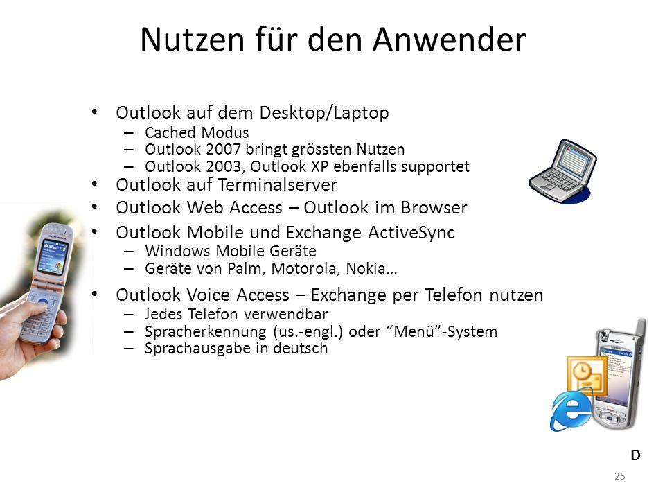 25 Nutzen für den Anwender Outlook auf dem Desktop/Laptop – Cached Modus – Outlook 2007 bringt grössten Nutzen – Outlook 2003, Outlook XP ebenfalls su