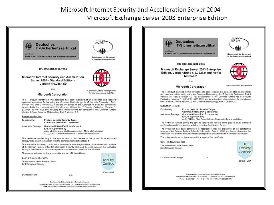 Microsoft Corporation Microsoft Exchange Server 2007 Service Pack 1 BSI-DSZ-CC-0436