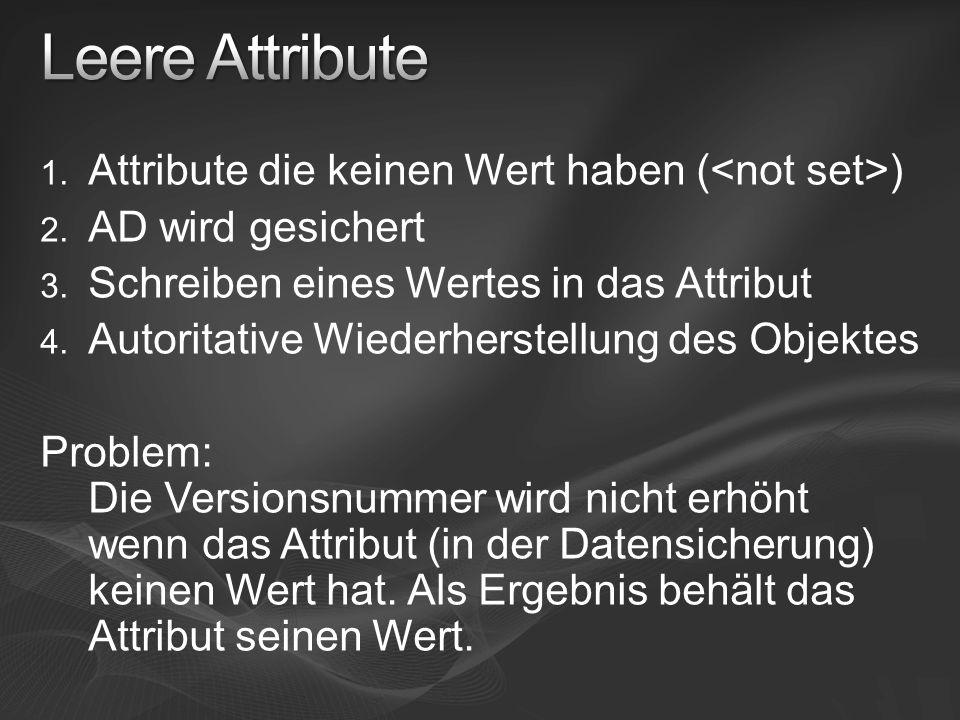 1. Attribute die keinen Wert haben ( ) 2. AD wird gesichert 3.