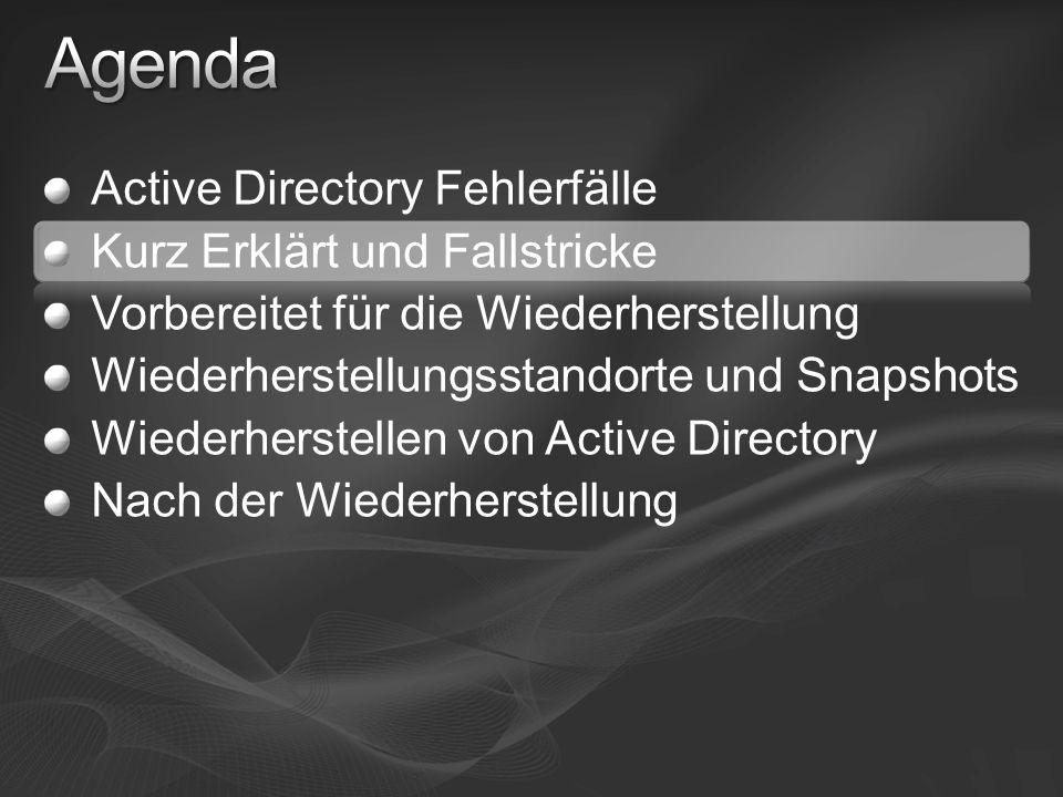 Active Directory Fehlerfälle Kurz Erklärt und Fallstricke Vorbereitet für die Wiederherstellung Wiederherstellungsstandorte und Snapshots Wiederherstellen von Active Directory Nach der Wiederherstellung