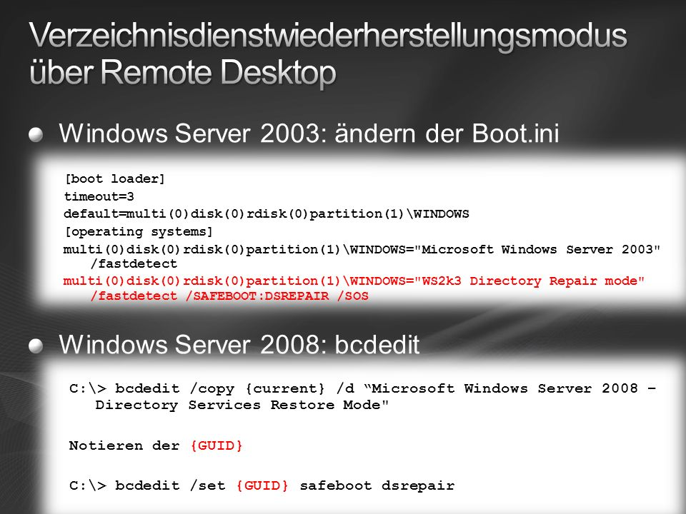 Windows Server 2003: ändern der Boot.ini Windows Server 2008: bcdedit [boot loader] timeout=3 default=multi(0)disk(0)rdisk(0)partition(1)\WINDOWS [operating systems] multi(0)disk(0)rdisk(0)partition(1)\WINDOWS= Microsoft Windows Server 2003 /fastdetect multi(0)disk(0)rdisk(0)partition(1)\WINDOWS= WS2k3 Directory Repair mode /fastdetect /SAFEBOOT:DSREPAIR /SOS [boot loader] timeout=3 default=multi(0)disk(0)rdisk(0)partition(1)\WINDOWS [operating systems] multi(0)disk(0)rdisk(0)partition(1)\WINDOWS= Microsoft Windows Server 2003 /fastdetect multi(0)disk(0)rdisk(0)partition(1)\WINDOWS= WS2k3 Directory Repair mode /fastdetect /SAFEBOOT:DSREPAIR /SOS C:\> bcdedit /copy {current} /d Microsoft Windows Server 2008 – Directory Services Restore Mode Notieren der {GUID} C:\> bcdedit /set {GUID} safeboot dsrepair C:\> bcdedit /copy {current} /d Microsoft Windows Server 2008 – Directory Services Restore Mode Notieren der {GUID} C:\> bcdedit /set {GUID} safeboot dsrepair