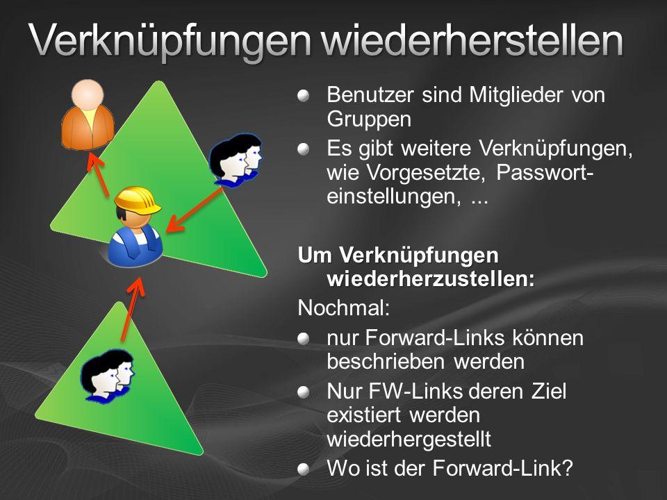 Benutzer sind Mitglieder von Gruppen Es gibt weitere Verknüpfungen, wie Vorgesetzte, Passwort- einstellungen,...