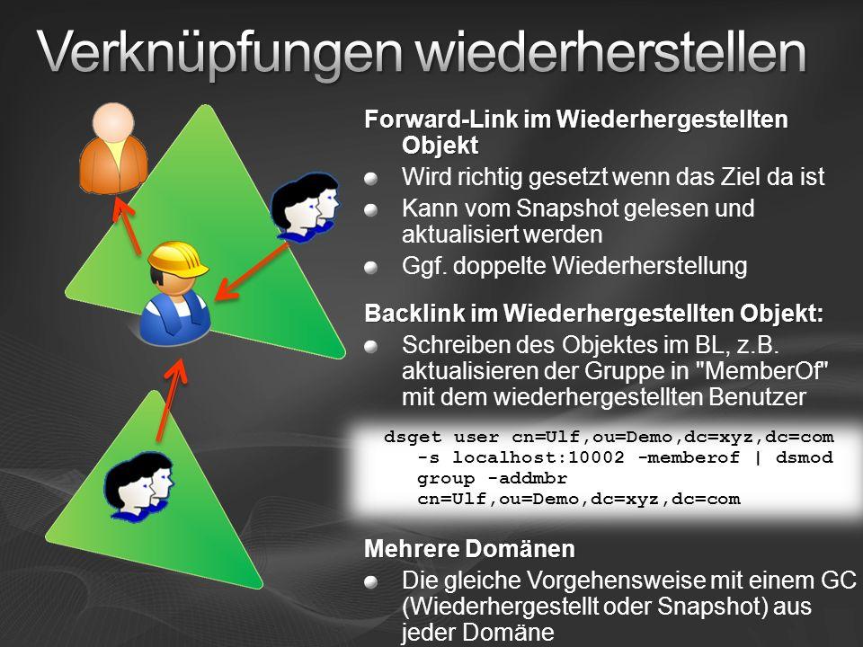 Forward-Link im Wiederhergestellten Objekt Wird richtig gesetzt wenn das Ziel da ist Kann vom Snapshot gelesen und aktualisiert werden Ggf.