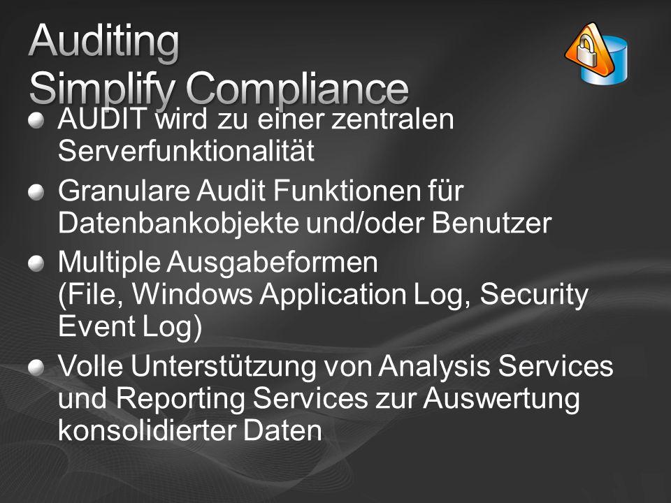 AUDIT wird zu einer zentralen Serverfunktionalität Granulare Audit Funktionen für Datenbankobjekte und/oder Benutzer Multiple Ausgabeformen (File, Win