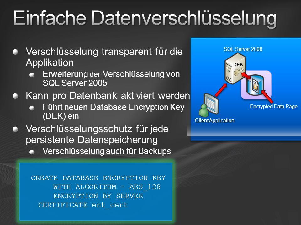 Verschlüsselung transparent für die Applikation Erweiterung der Verschlüsselung von SQL Server 2005 Kann pro Datenbank aktiviert werden Führt neuen Da