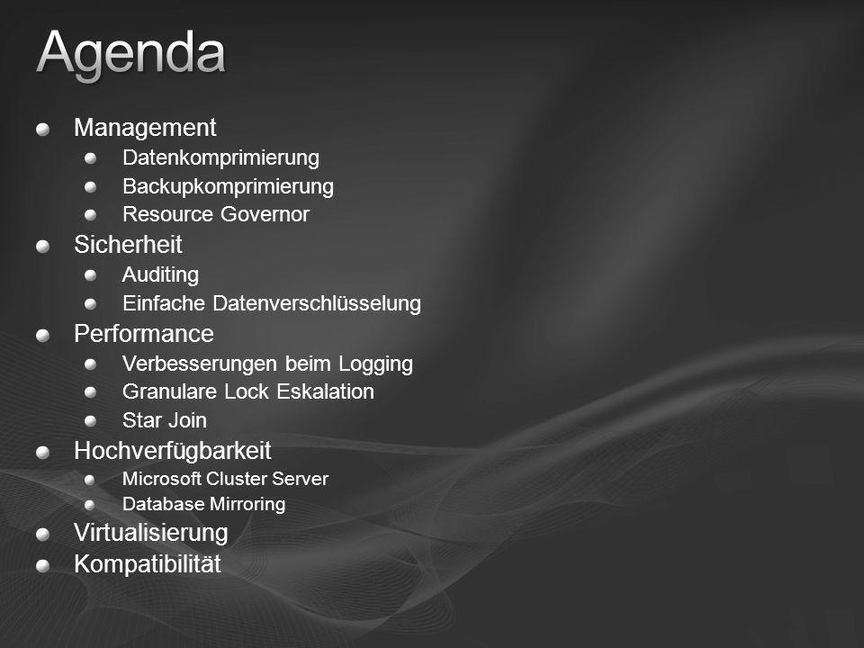 Management Datenkomprimierung Backupkomprimierung Resource Governor Sicherheit Auditing Einfache Datenverschlüsselung Performance Verbesserungen beim
