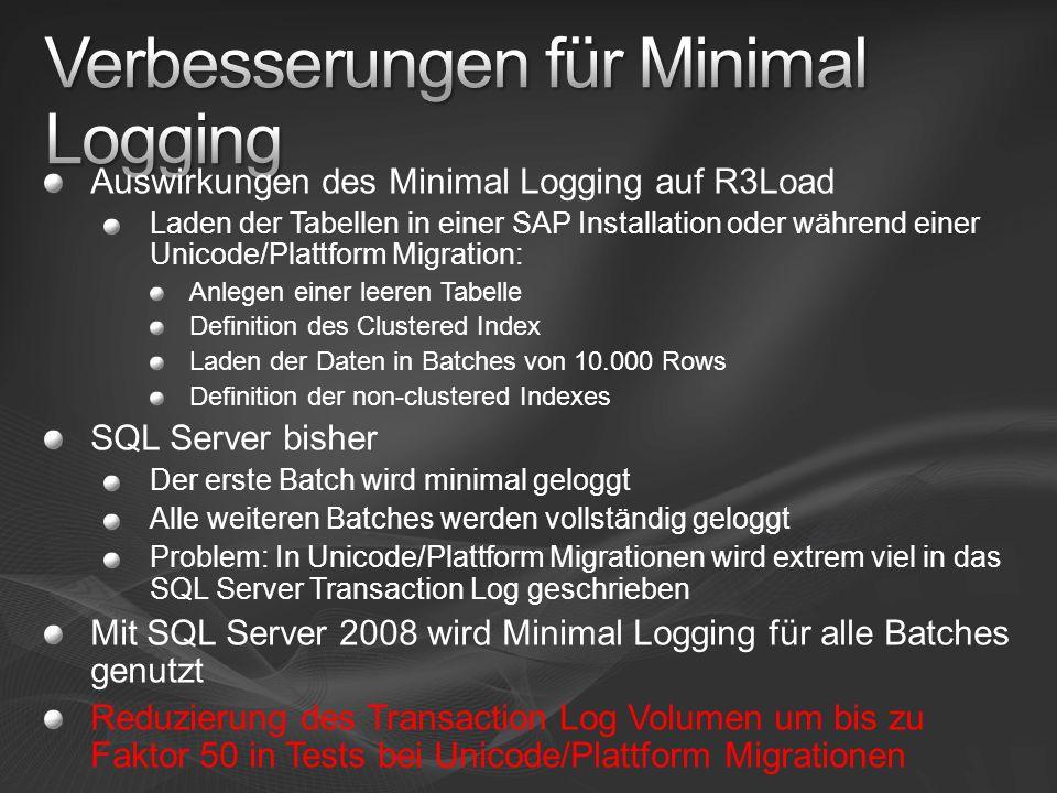 Auswirkungen des Minimal Logging auf R3Load Laden der Tabellen in einer SAP Installation oder während einer Unicode/Plattform Migration: Anlegen einer