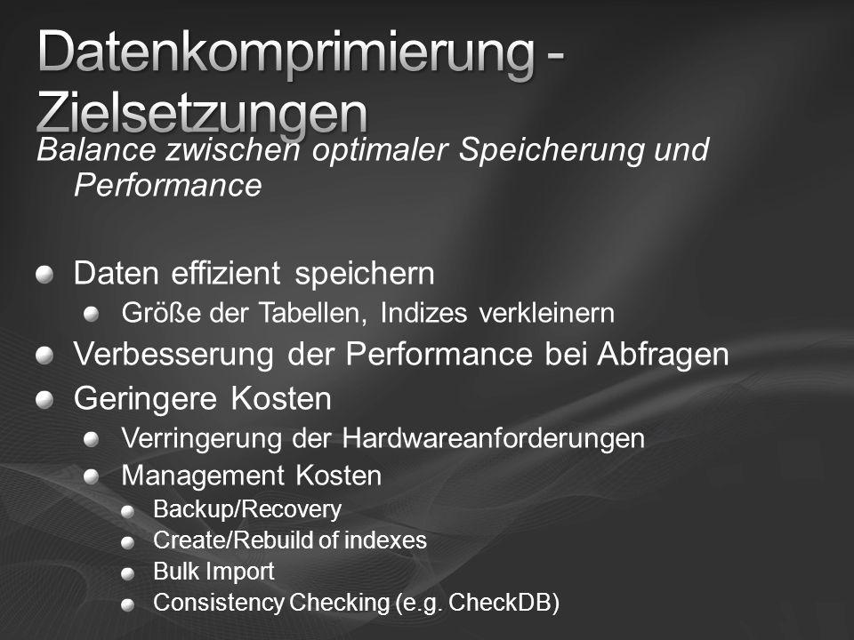 Balance zwischen optimaler Speicherung und Performance Daten effizient speichern Größe der Tabellen, Indizes verkleinern Verbesserung der Performance