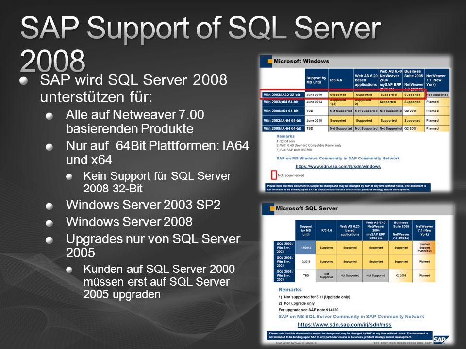 SAP wird SQL Server 2008 unterstützen für: Alle auf Netweaver 7.00 basierenden Produkte Nur auf 64Bit Plattformen: IA64 und x64 Kein Support für SQL S