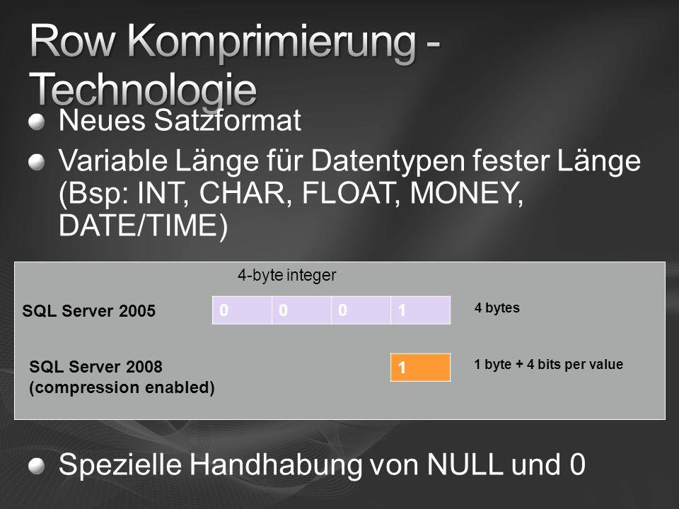 Neues Satzformat Variable Länge für Datentypen fester Länge (Bsp: INT, CHAR, FLOAT, MONEY, DATE/TIME) Spezielle Handhabung von NULL und 0 0001 4-byte