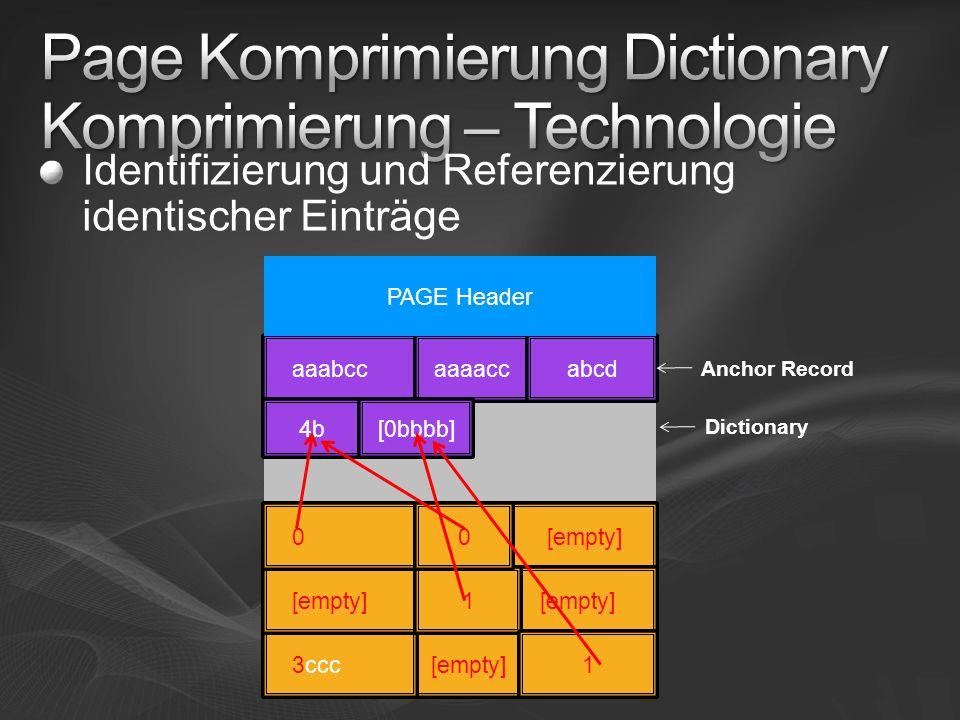 Identifizierung und Referenzierung identischer Einträge aaabccaaaaccabcd [empty] 4b[0bbbb] 4b [empty] 3ccc[0bbbb] PAGE Header [empty][0bbbb] 0 1 1 0 A