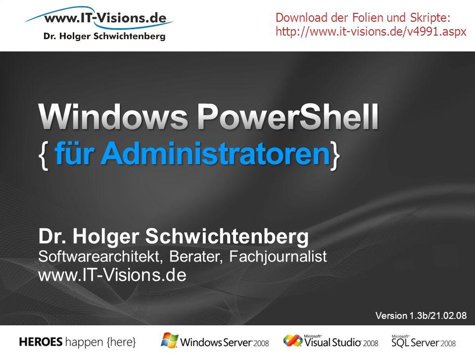 Dr. Holger Schwichtenberg Softwarearchitekt, Berater, Fachjournalist www.IT-Visions.de Version 1.3b/21.02.08 Download der Folien und Skripte: http://w