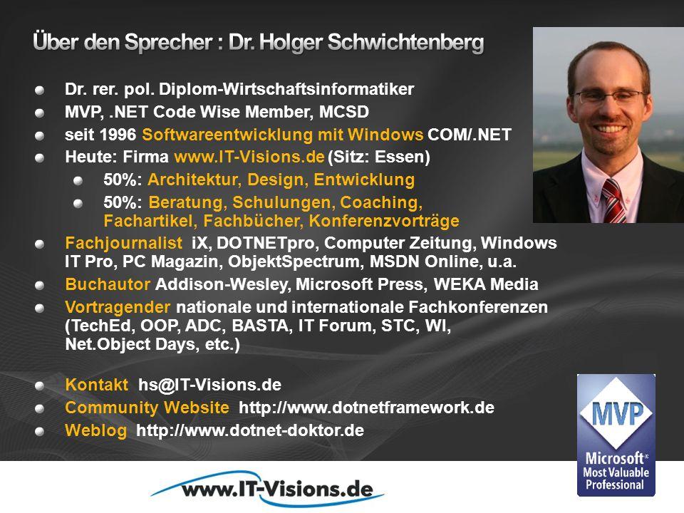 Dr. rer. pol. Diplom-Wirtschaftsinformatiker MVP,.NET Code Wise Member, MCSD seit 1996 Softwareentwicklung mit Windows COM/.NET Heute: Firma www.IT-Vi