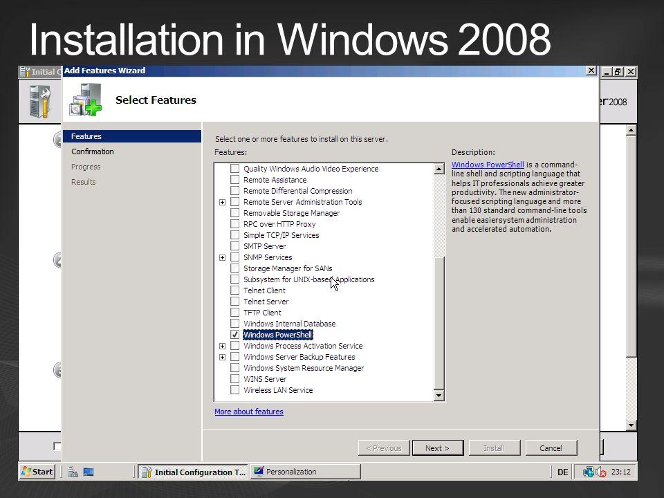 Installation in Windows 2008