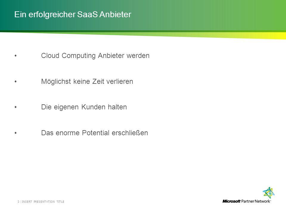 Ein erfolgreicher SaaS Anbieter INSERT PRESENTATION TITLE3 | Cloud Computing Anbieter werden Möglichst keine Zeit verlieren Die eigenen Kunden halten Das enorme Potential erschließen