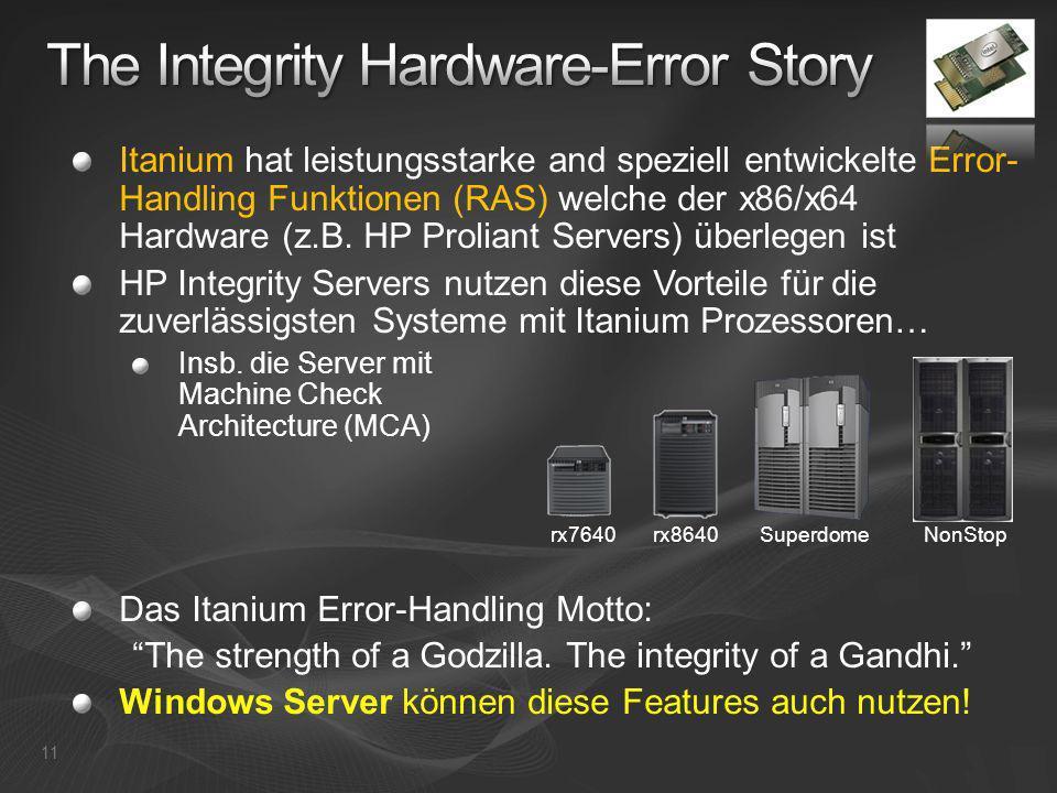 Itanium hat leistungsstarke and speziell entwickelte Error- Handling Funktionen (RAS) welche der x86/x64 Hardware (z.B. HP Proliant Servers) überlegen