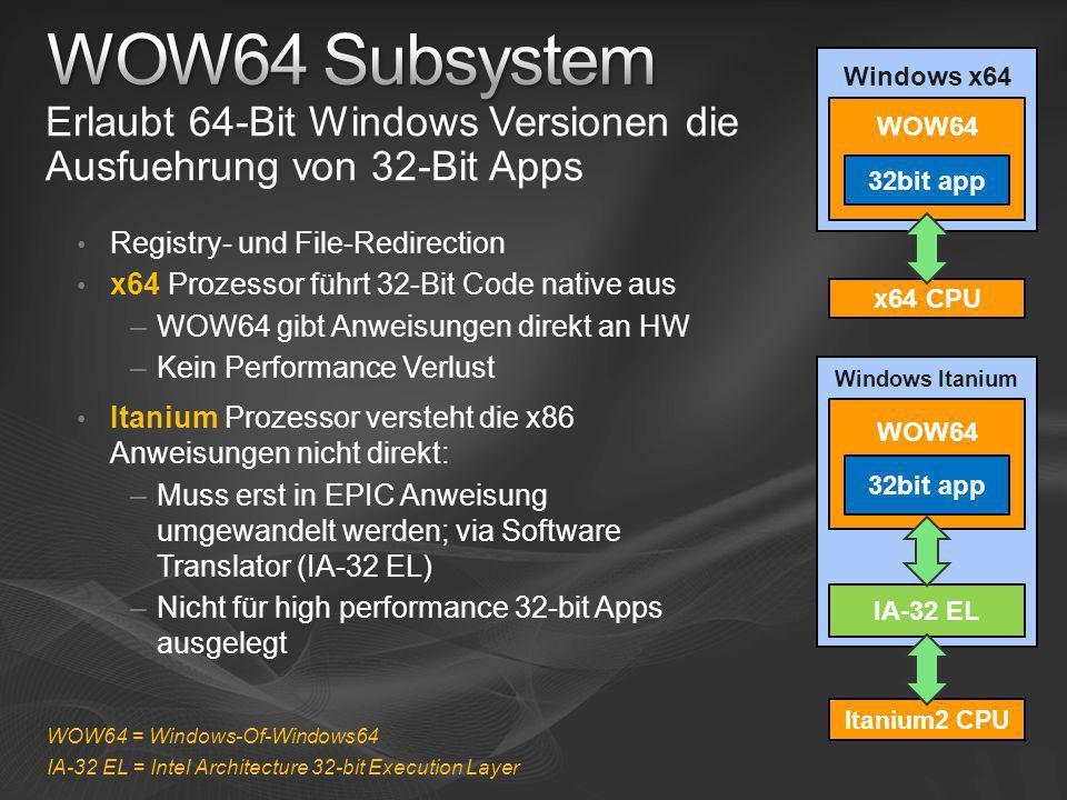 Windows Itanium Erlaubt 64-Bit Windows Versionen die Ausfuehrung von 32-Bit Apps Windows x64 Registry- und File-Redirection x64 Prozessor führt 32-Bit