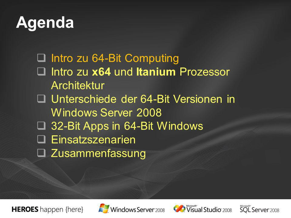 Windows Itanium Erlaubt 64-Bit Windows Versionen die Ausfuehrung von 32-Bit Apps Windows x64 Registry- und File-Redirection x64 Prozessor führt 32-Bit Code native aus –WOW64 gibt Anweisungen direkt an HW –Kein Performance Verlust Itanium Prozessor versteht die x86 Anweisungen nicht direkt: –Muss erst in EPIC Anweisung umgewandelt werden; via Software Translator (IA-32 EL) –Nicht für high performance 32-bit Apps ausgelegt WOW64 = Windows-Of-Windows64 IA-32 EL = Intel Architecture 32-bit Execution Layer x64 CPU WOW64 32bit app Itanium2 CPU WOW64 32bit app IA-32 EL