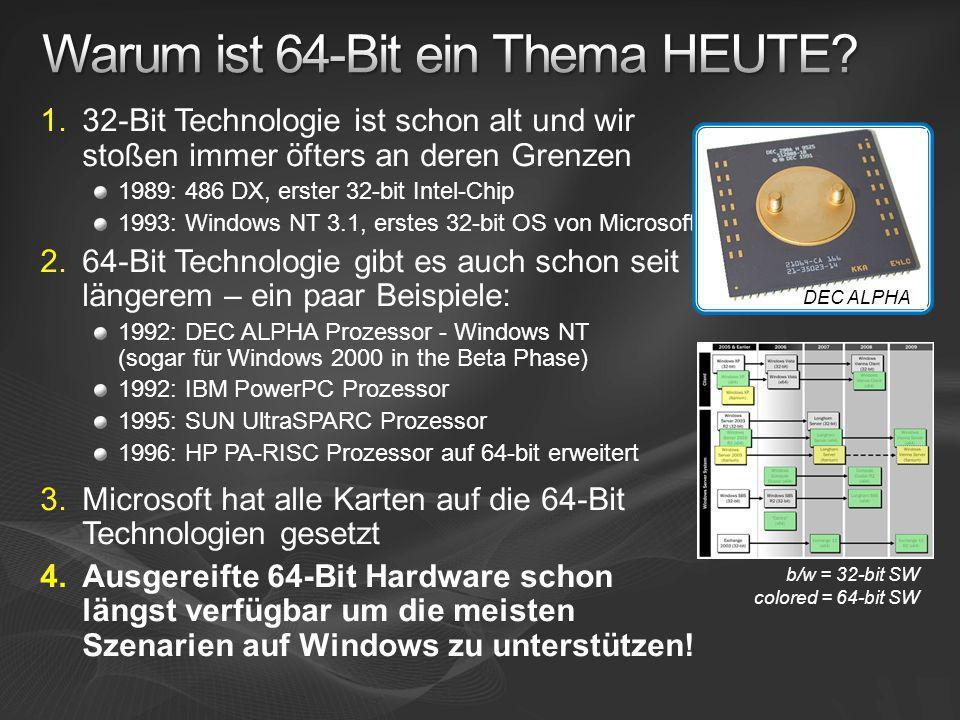 Übersicht zu 32-Bit Apps auf 64-Bit OS Kompatibilitätsfragen : http://support.microsoft.com/kb/896456 http://support.microsoft.com/kb/896456 Haupt Beschränkung: alle Kernel Level Programme müssen nativ 64-Bit sein Beispiel: NIC Drivers, Antivirus Agents, Disk-Defrag Tools (für Server heute meist kein Problem mehr) 64-bit Kernel-Mode Treiber müssen digital signiert sein http://www.microsoft.com/whdc/driver/kernel/64bit_chklist.mspx http://www.microsoft.com/whdc/driver/kernel/64bit_chklist.mspx Andere Herausforderungen: 32-Bit in-process COM Komponenten (DLLs) nicht in 64-Bit Programmen erlaubt Entweder als out-of-process implementieren, oder durch native 64-Bit Version ersetzen 16-bit DOS und Windows (Win16) Applikationen sind NICHT auf Windows x64 lauffähig da NTVDM entfernt wurde
