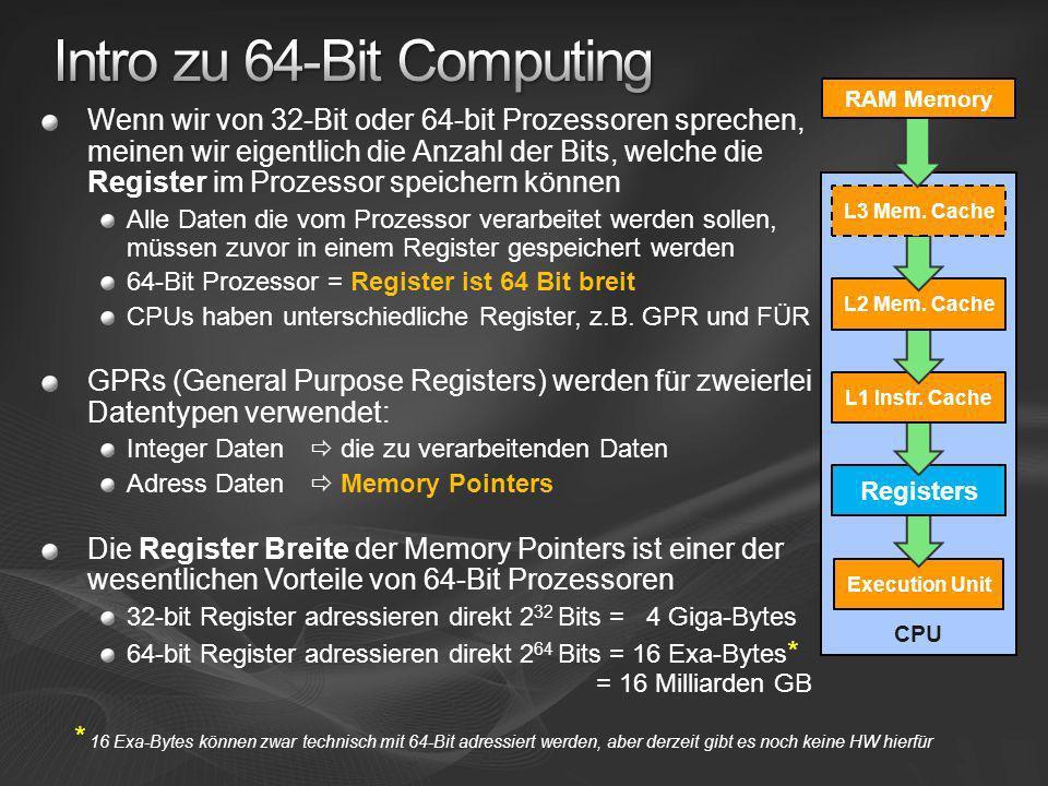 64-Bit ist Hier und Heute Enorme Performance Vorteile für Programme die heute schon am Speicherlimit arbeiten (auch für 32-Bit Apps auf x64) Itanium2 spielt in einer anderen Liga als x64 x64 = mainstream to mid-range Itanium2 = mid-range to high end Schon jetzt vorbereiten auf die Welle der nächsten 64-bit Applikationen (wie Exchange 2007) Die meisten Infrastruktur-Rollen können ohne weiteres auf 64-Bit migriert werden (z.B.