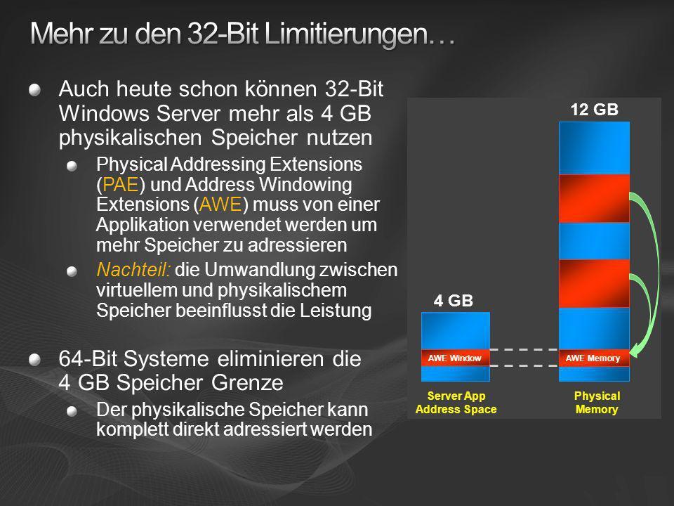 32-bit (2 GB/3GB) 64-bit (8 TB) – both x64 and Itanium Prozess-Adressraum Heutige Speicher- und CPU-Limits HP DL 585 x64: 128 GB, 4 CPU-Slots HP Integrity Superdome Itanium: 2 TB, 64 CPU-Slots (targeting 4TB in WS2008 era)