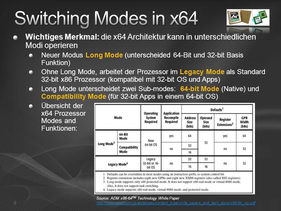 Wichtiges Merkmal: die x64 Architektur kann in unterschiedlichen Modi operieren Neuer Modus Long Mode (unterscheided 64-Bit und 32-bit Basis Funktion)