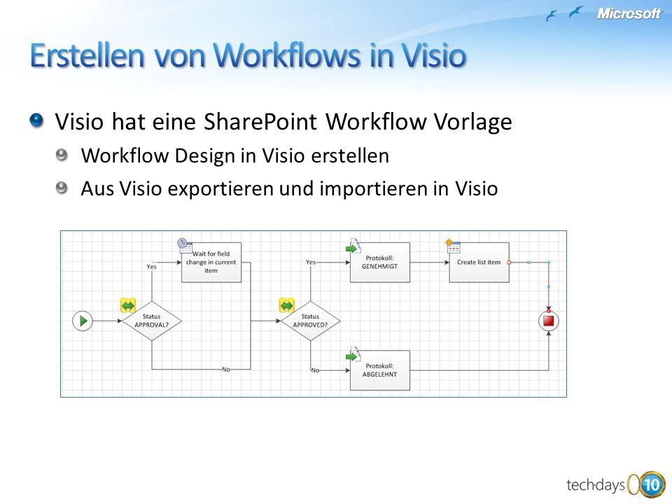 Visio hat eine SharePoint Workflow Vorlage Workflow Design in Visio erstellen Aus Visio exportieren und importieren in Visio