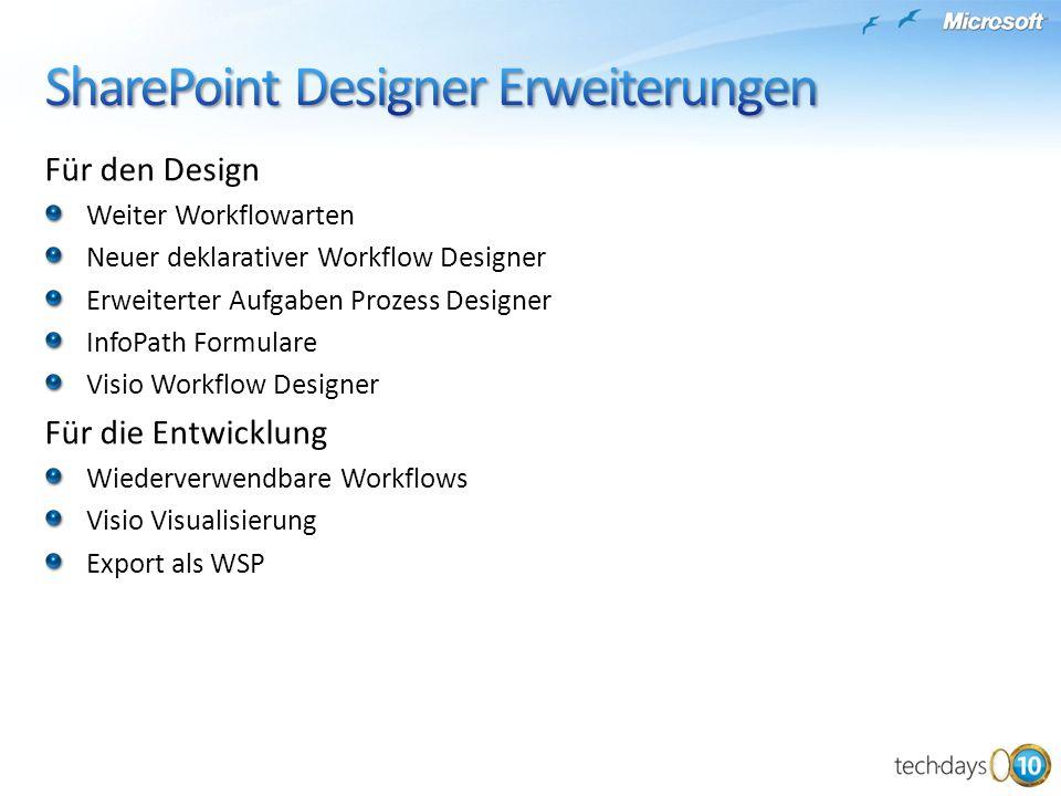 Für den Design Weiter Workflowarten Neuer deklarativer Workflow Designer Erweiterter Aufgaben Prozess Designer InfoPath Formulare Visio Workflow Designer Für die Entwicklung Wiederverwendbare Workflows Visio Visualisierung Export als WSP