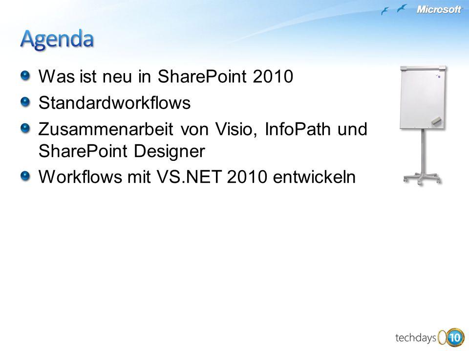 Was ist neu in SharePoint 2010 Standardworkflows Zusammenarbeit von Visio, InfoPath und SharePoint Designer Workflows mit VS.NET 2010 entwickeln