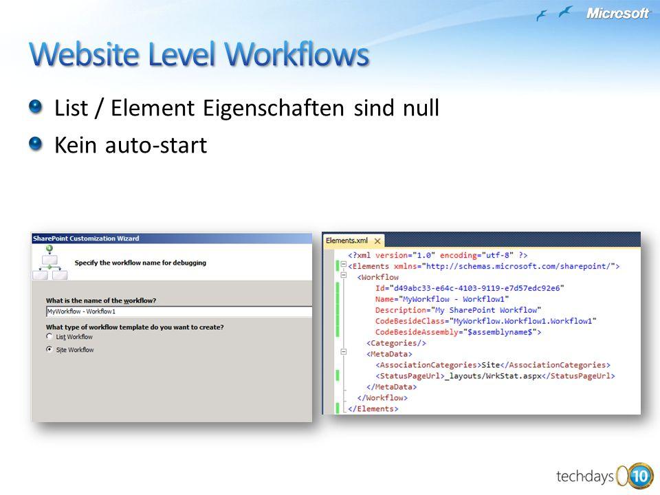 List / Element Eigenschaften sind null Kein auto-start