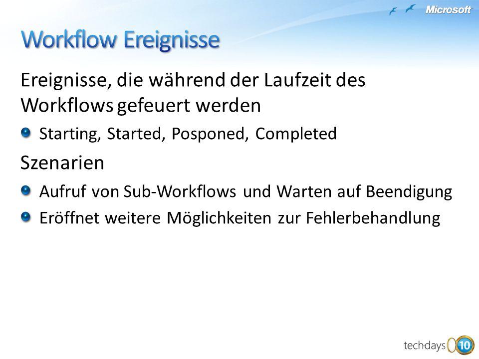 Ereignisse, die während der Laufzeit des Workflows gefeuert werden Starting, Started, Posponed, Completed Szenarien Aufruf von Sub-Workflows und Warten auf Beendigung Eröffnet weitere Möglichkeiten zur Fehlerbehandlung