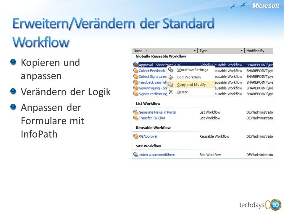 Kopieren und anpassen Verändern der Logik Anpassen der Formulare mit InfoPath