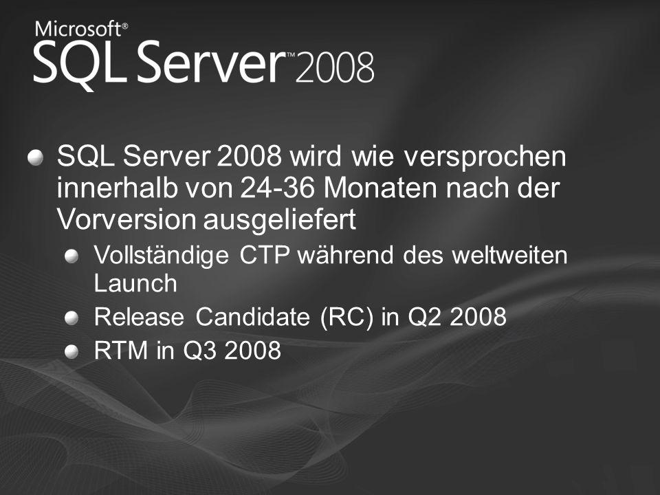 SQL Server 2008 wird wie versprochen innerhalb von 24-36 Monaten nach der Vorversion ausgeliefert Vollständige CTP während des weltweiten Launch Relea