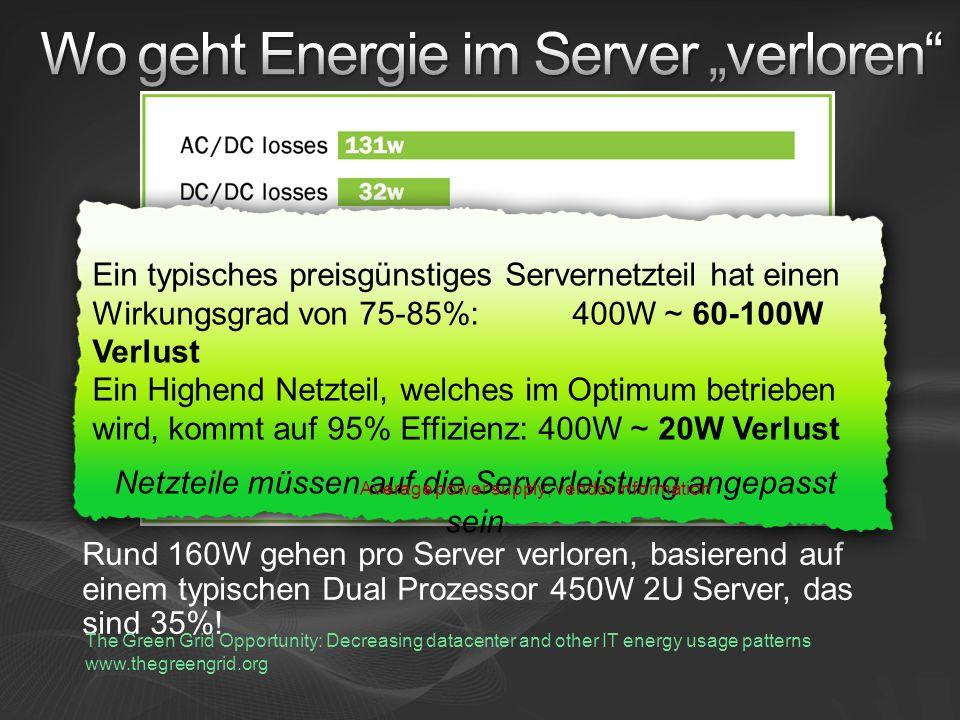 Rund 160W gehen pro Server verloren, basierend auf einem typischen Dual Prozessor 450W 2U Server, das sind 35%.
