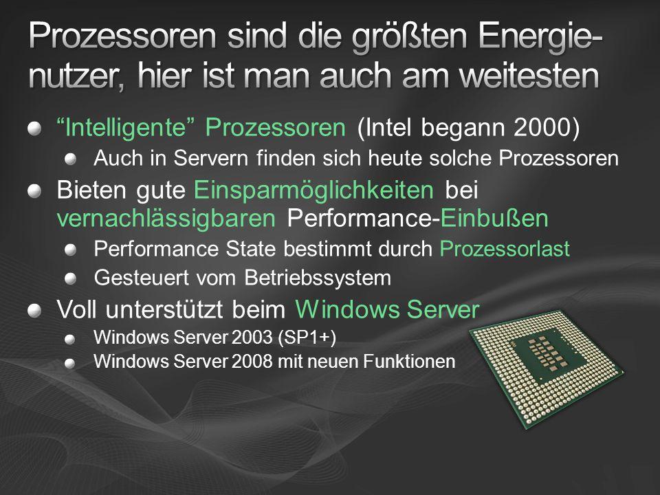 Intelligente Prozessoren (Intel begann 2000) Auch in Servern finden sich heute solche Prozessoren Bieten gute Einsparmöglichkeiten bei vernachlässigbaren Performance-Einbußen Performance State bestimmt durch Prozessorlast Gesteuert vom Betriebssystem Voll unterstützt beim Windows Server Windows Server 2003 (SP1+) Windows Server 2008 mit neuen Funktionen