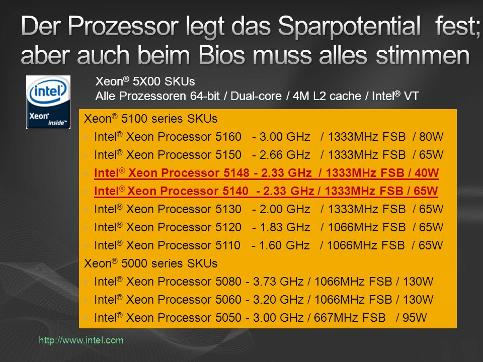 Xeon ® 5X00 SKUs Alle Prozessoren 64-bit / Dual-core / 4M L2 cache / Intel ® VT Xeon ® 5100 series SKUs Intel ® Xeon Processor 5160 - 3.00 GHz / 1333MHz FSB / 80W Intel ® Xeon Processor 5150 - 2.66 GHz / 1333MHz FSB / 65W Intel ® Xeon Processor 5148 - 2.33 GHz / 1333MHz FSB / 40W Intel ® Xeon Processor 5140 - 2.33 GHz / 1333MHz FSB / 65W Intel ® Xeon Processor 5130 - 2.00 GHz / 1333MHz FSB / 65W Intel ® Xeon Processor 5120 - 1.83 GHz / 1066MHz FSB / 65W Intel ® Xeon Processor 5110 - 1.60 GHz / 1066MHz FSB / 65W Xeon ® 5000 series SKUs Intel ® Xeon Processor 5080 - 3.73 GHz / 1066MHz FSB / 130W Intel ® Xeon Processor 5060 - 3.20 GHz / 1066MHz FSB / 130W Intel ® Xeon Processor 5050 - 3.00 GHz / 667MHz FSB / 95W http://www.intel.com