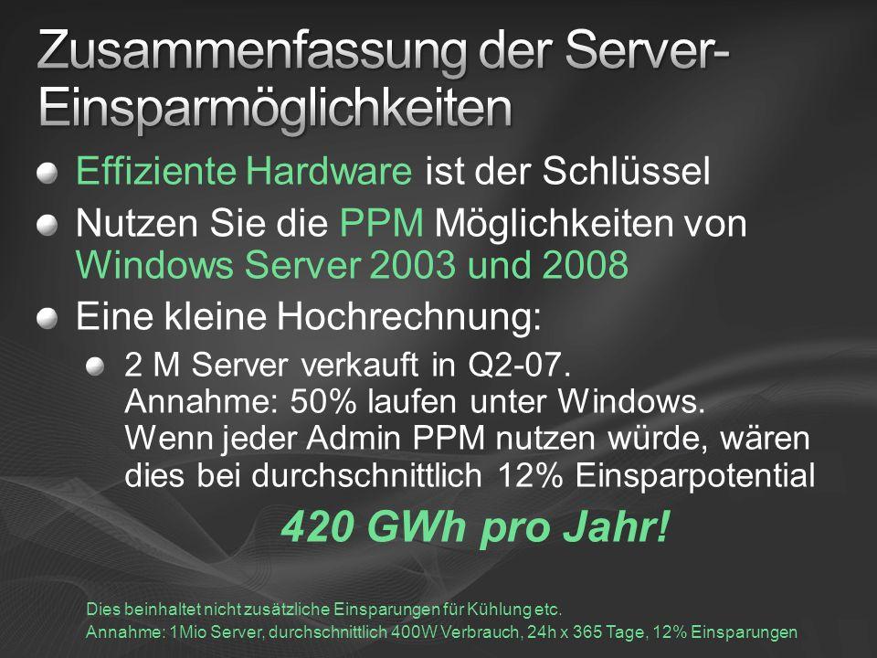 Effiziente Hardware ist der Schlüssel Nutzen Sie die PPM Möglichkeiten von Windows Server 2003 und 2008 Eine kleine Hochrechnung: 2 M Server verkauft in Q2-07.
