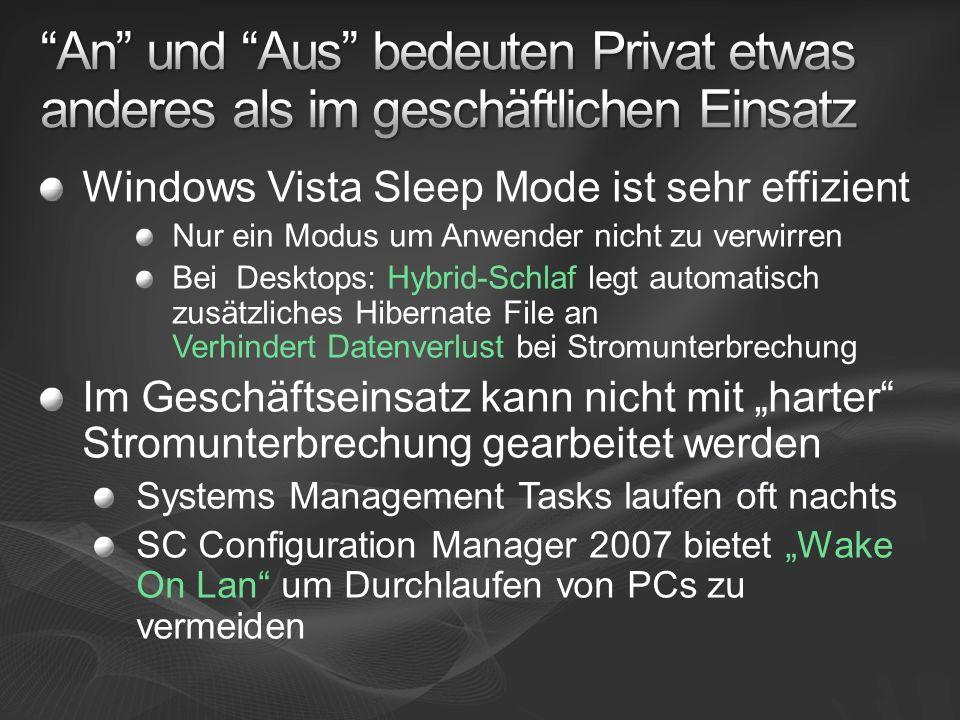 Windows Vista Sleep Mode ist sehr effizient Nur ein Modus um Anwender nicht zu verwirren Bei Desktops: Hybrid-Schlaf legt automatisch zusätzliches Hibernate File an Verhindert Datenverlust bei Stromunterbrechung Im Geschäftseinsatz kann nicht mit harter Stromunterbrechung gearbeitet werden Systems Management Tasks laufen oft nachts SC Configuration Manager 2007 bietet Wake On Lan um Durchlaufen von PCs zu vermeiden