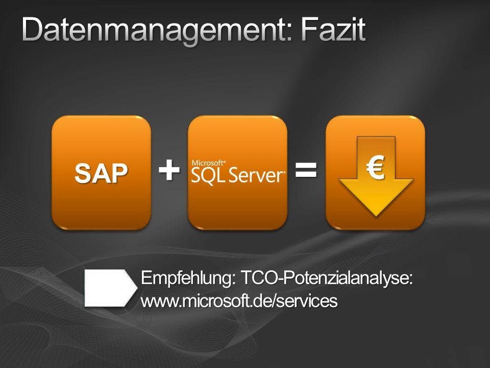 SAPSAP + Empfehlung: TCO-Potenzialanalyse: www.microsoft.de/services =