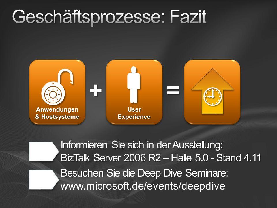 = Anwendungen & Hostsysteme Informieren Sie sich in der Ausstellung: BizTalk Server 2006 R2 – Halle 5.0 - Stand 4.11 + User Experience Besuchen Sie di