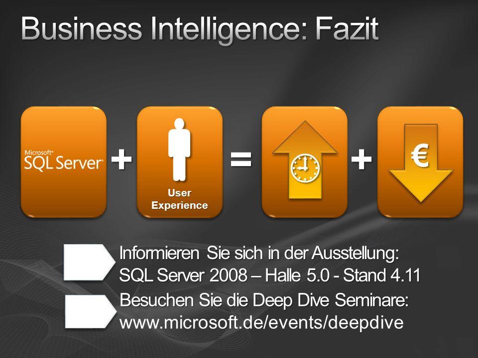 = + User Experience + Informieren Sie sich in der Ausstellung: SQL Server 2008 – Halle 5.0 - Stand 4.11 Besuchen Sie die Deep Dive Seminare: Besuchen