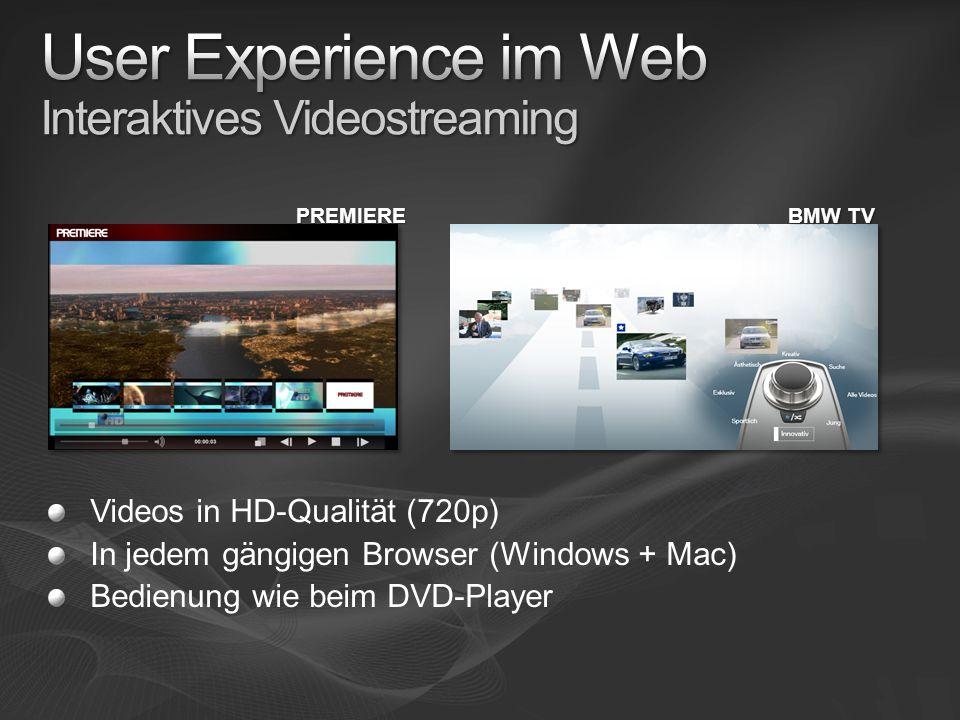 BMW TV PREMIERE Videos in HD-Qualität (720p) In jedem gängigen Browser (Windows + Mac) Bedienung wie beim DVD-Player