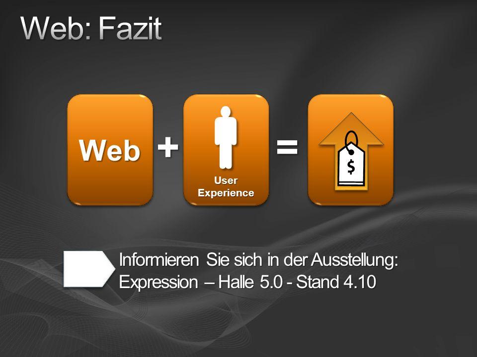 WebWeb = + User Experience Informieren Sie sich in der Ausstellung: Expression – Halle 5.0 - Stand 4.10