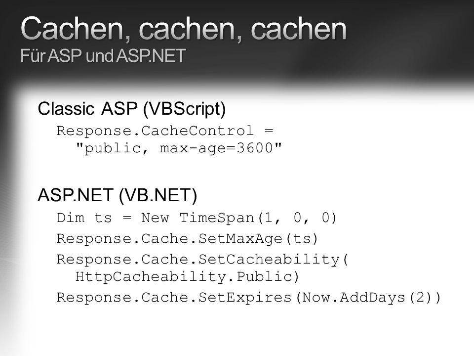 Classic ASP (VBScript) Response.CacheControl = public, max-age=3600 ASP.NET (VB.NET) Dim ts = New TimeSpan(1, 0, 0) Response.Cache.SetMaxAge(ts) Response.Cache.SetCacheability( HttpCacheability.Public) Response.Cache.SetExpires(Now.AddDays(2))
