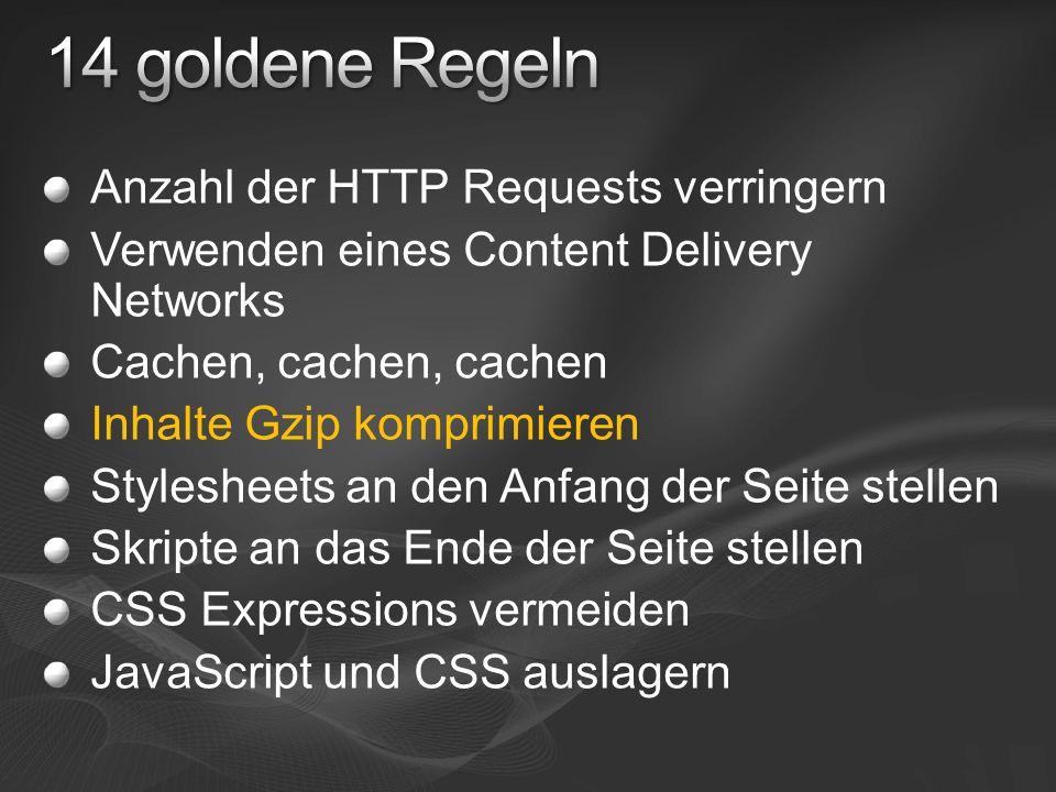 Anzahl der HTTP Requests verringern Verwenden eines Content Delivery Networks Cachen, cachen, cachen Inhalte Gzip komprimieren Stylesheets an den Anfang der Seite stellen Skripte an das Ende der Seite stellen CSS Expressions vermeiden JavaScript und CSS auslagern