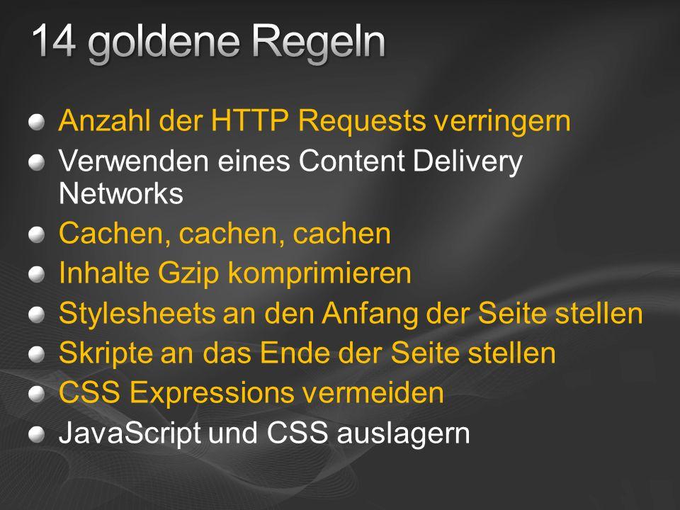 Expires Header die Datei bis zum … verwenden the date/time after which the response is considered stale Expires: Thu, 15 Apr 2010 20:00:00 GMT Zeit zwischen Server und Client muss synchron sein http://www.w3.org/Protocols/rfc2616/rfc2616-sec14.html