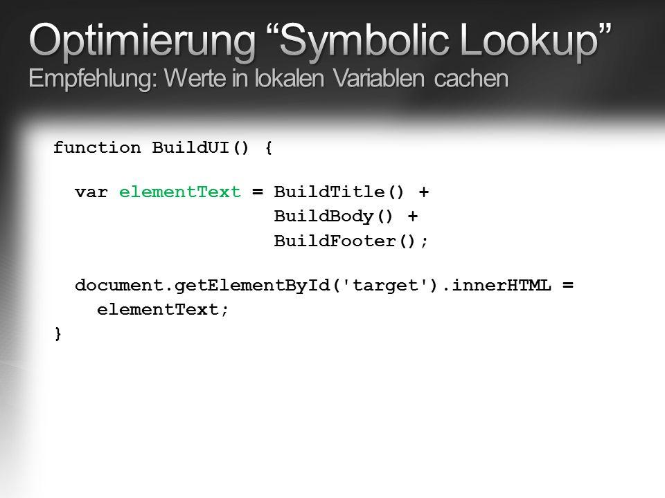 function BuildUI() { var elementText = BuildTitle() + BuildBody() + BuildFooter(); document.getElementById( target ).innerHTML = elementText; }